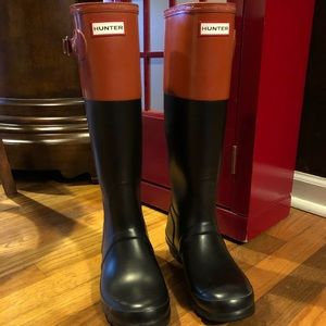 Hunter Tall Boots two-tone size 8